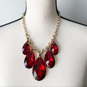 Red Crystal Teardrop Statement Necklace